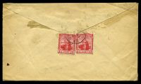 Lot 26072 [2 of 2]:1922 use of 1d red x2 (SG #150) on back of cover to England, cancelled with 'LA BREA/A/FE18/22/TRINI