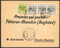 Lot 27372:1925 2ch & 6ch strip of 3 cancelled at Tehran on 5-IV-25 on First flight cover, double-circle 'KHANIQIN/6APR25/' (B1 - Proud #D2 - rated 200 but only 1 date of 1922 recorded) on face.