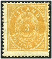 Lot 21311:1882 New Colours Perf 14x13½ SG #20 3a brownish ochre, Cat £110, hinge remainder, guarantee? handstamp on back.