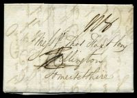 Lot 4156 [1 of 2]:1819 entire with black '2/4'? on face from London to Somersetshire, double-circle 'JU/F17/819' (A1) on back.