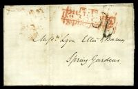 Lot 4157:1829 Local 2d Post outer with '2' (B2) handstamp and red 'T.P/Lambs Cond St' (C1) double-strike and red 'Paid' all on face to Spring Gardens, red oval '8 MORN 8/20OC/1829' (B1) on back.