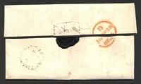 "Lot 22432:1835 entire with black ""2/1""? x2 on face, to Ludlow, unframed 'NEWPORT/NO17/[183]"