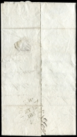 "Lot 4077 [1 of 2]:1835 entire with black ""6"" to Wells, unframed 'BRIDGEWATER/MY12/1835/=' (B1) on back."