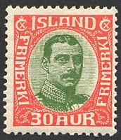 Lot 4233:1920 Christian X SG #126 30a red & green, Cat £41.