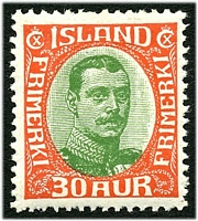 Lot 4234:1920 Christian X SG #126 30a red & green, Cat £41.