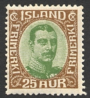 Lot 3867:1920 Christian X SG #125 25a brown & green, Cat £17.