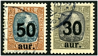 Lot 3643:1925 Surcharges SG #144-5 30a on 50a grey & slate-blue and 50a on 5k red-brown & grey, Cat £58, very minor crease on 50a. (2)