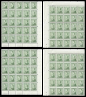 Lot 4163:1937 Silver Jubilee SG #220 10a green sheet of 100 separated into marginal corner blocks of 25, Cat £250, a couple of stamps creased.