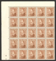Lot 4164 [2 of 2]:1937 Silver Jubilee SG #221 30a brown sheet of 100 separated into marginal corner blocks of 25, Cat £250, a couple of stamps creased.