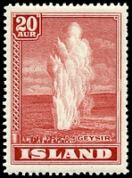 Lot 3872:1938 Geysers SG #225 20a red, Cat £25.