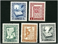 Lot 23225:1953 Manuscripts SG #319-23 complete set, Cat £42, 10k is thinned. (5)