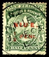 Lot 26049:1902 (2 May) Surcharges SG #8a P14 'NIUE./½ PENI.' on NZ ½d Pictorial with Spaced U E.