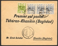 Lot 4246:1925 2ch & 6ch strip of 3 cancelled at Tehran on 5-IV-25 on First flight cover, double-circle 'KHANIQIN/6APR25/' (B1 - Proud #D2 - rated 200 but only 1 date of 1922 recorded) on face.