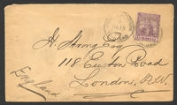 Lot 25795:1896 use of 5d dull purple & mauve (SG #119, Cat £14 x4) to England, cover a little bit soiled.