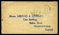 Lot 28303 [1 of 2]:1922 use of 1d red x2 (SG #150) on back of cover to England, cancelled with 'LA BREA/A/FE18/22/TRINI