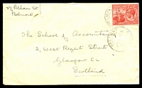 Lot 28306:1932 use of 1½d bright rose (SG #218-9) cancelled with 'BELMONT/?-7-32A/TRINIDAD