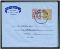 Lot 25181:1954 'BY AIR MAIL' in Scroll HG #FG4 25c deep yellow & 5c red, 2 instruction lines on back, cancelled with 'SINGAPORE/20NOV54-1030AM' (B1), CTO.