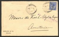 Lot 25172 [1 of 2]:1916 use of KGV 8c blue on cover to Amsterdam, violet straight-line 'PASSED CENSOR/BOMBAY' (B1) on face.
