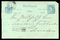 Lot 4028:1881-91 Change of Colours HG #10 5c blue on pale blue, cancelled with poor pmk, boxed 'NA POSTTIJD' (B1) and double-circle 'SOERABA