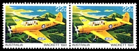 Lot 3398:1980 Aircraft BW #883e 22c pair one with large red dot on wing (ShA L6/3-4), Cat $10.