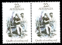 Lot 3401:1981 Gold Rush 22c Quality of Washing Stuff pair, BW #898 with red dot on l of Quality.