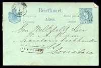 Lot 25256:1881-91 Change of Colours HG #10 5c blue on pale blue, cancelled with poor pmk, boxed 'NA POSTTIJD' (B1) and double-circle 'SOERABA