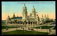 Lot 89:Great Britain - 1908 Franco-British Exhibition: Valentine coloured official PPC of 'British Applied Arts Palace, Franco-British Exhibition, London, 1908'.