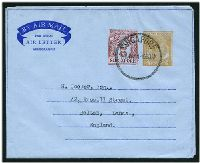 Lot 4147:1954 'BY AIR MAIL' in Scroll HG #FG4 25c deep yellow & 5c red, 2 instruction lines on back, cancelled with 'SINGAPORE/20NOV54-1030AM' (B1), CTO.