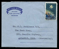 Lot 28819:1970 use of 1968 3b Satellite on formular air letter (approval #71995/2E) to Australia.