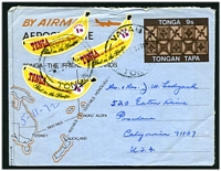 Lot 28206:1971 HG #FG1 9s brown & light brown with map, uprated with 1970 1s banana x3, to USA.