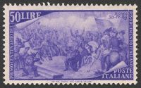 Lot 3833:1948 Centenary of 1848 Uprising SG #716 50L violet, Cat £190, re-gummed?.