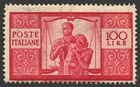 Lot 4322:1945-48 Democracy SG #669 100L carmine P14, Cat £550, re-gummed?