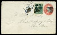 Lot 4525:1883 New Design HG #B214 2c red 4 wavy lines in oval, (Sc #U231), uprated with 3c green, cancelled with smudgy quartered circle tied with 'SH
