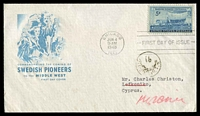 Lot 3680 [1 of 2]:1948: USA Swedish Pioneers FDC to Lefkonika, then re-directed to Kyrenia, Arabic handstamp on face.