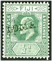 Lot 21310:Loma Loma (2): '[LOMA] LOMA' straight-line handstamp on KEVII ½d green.  PO 1/11/1909.