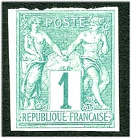 Lot 3492:1877-79 Peace & Commerce: SG #24 1c green 4-margins but top margin separated by tearing, Cat £40.