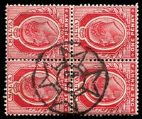 Lot 24856:Valletta: 'G.P/O' in Maltese Cross on KEVII 1d red block of 4.
