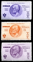 Lot 4640:1934 Rome-Mogadishu Flight SG #205-7 3l+25c to 10L+30c, Cat £54. (3)