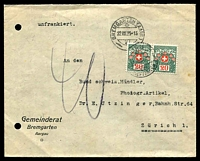"Lot 28736:1923 use of stampless cover cancelled with double-circle 'BREMGARTEN (AARG)/22.VIII.23-15/VI/' (B2). endorsed ""unfrankiert"" at top, 20c PDue pair applied at Zurich, filing holes at left."