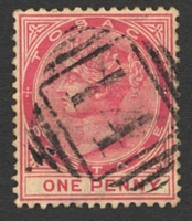 Lot 28422:14: of Tobago on 1d carmine, used on Scarborough to Roxborough route (TPO?). [Rated 400 by Proud]