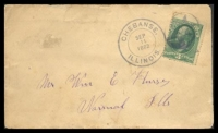 Lot 4757:1882 use of 3c green (Sc #184), cancelled with double-circle 'CHEBANSE,/SEP/11/1882/ILLINOIS.' (A1+) and star-in-circle, triple-circle 'NORMAL/SEP/12/1882/ILLINOIS' (A1) and poor star-in-circle arrival on back.