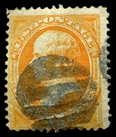 Lot 4482:1870-71 National Banknote Company Sc #152 15c orange, Cat $160, cork grid cancel, corner crease.