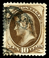 Lot 4259:1873 Continental Banknote Company Sc #161 10c brown, Cat $18, couple of toned perfs.