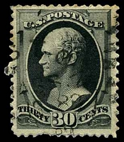 Lot 4756:1873 Continental Banknote Company Sc #165 30c grey-black, Cat $100, a few toned perfs.