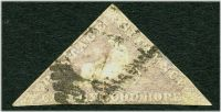 Lot 20584:1855-63 Triangles Perkins Bacon Printing SG #7 6d pale rose-lilac 3-margins (close to touching), Cat £200, a bit grubby.