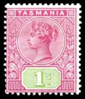 Lot 10064:1892-99 Tablets Wmk TAS Perf 14 SG #221 1/- rose & green.