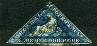 Lot 3321:1863-64 DLR Triangles SG #19 4d deep blue 3-margins (all touching or close), Cat £50, small corner crease and back partly stained.