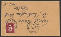 Lot 3746:UNESCO Month 'MOIS DE L'UNESCO/10-4/47/PARIS' on 15f on commercial cover to GB.
