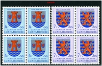Lot 3905:1956 Coats of Arms SG #615-20 blocks of 4, Cat £80+. (24)