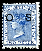 Lot 5654:1882-85 Wmk 2nd Crown/NSW Opt 'O1': 2d blue P11x12, SG #O21c 'OS' offset on back but a few short perfs at top.